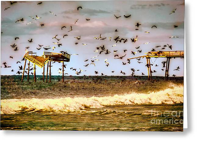 Storm Prints Greeting Cards - Memories of Frisco Pier - Outer Banks II Greeting Card by Dan Carmichael