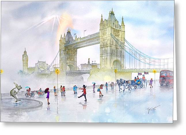 Foggy Day Greeting Cards - Memories Of London Bridge England Greeting Card by John YATO