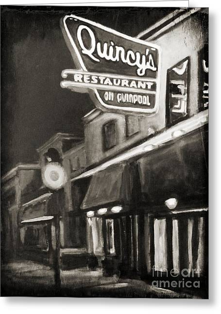 Art In Halifax Greeting Cards - Memories of Quincys Restaurant in Halifax Nova Scotia Greeting Card by John Malone