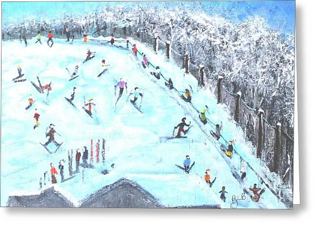 Memories Of Skiing Greeting Card by Rita Brown