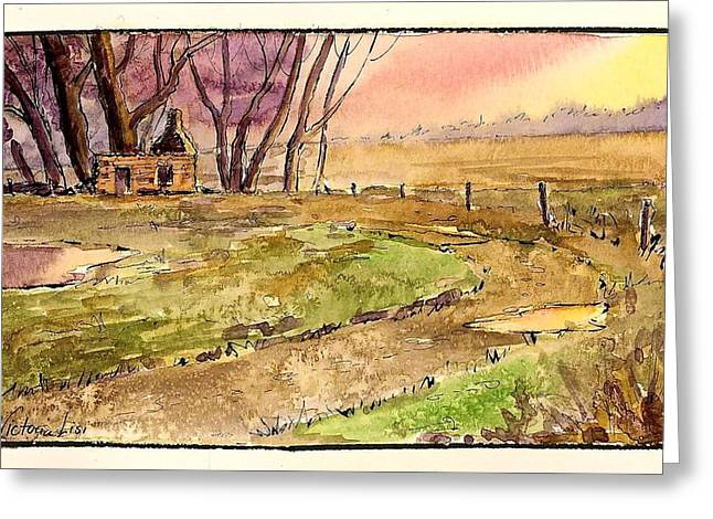 Old Country Roads Mixed Media Greeting Cards - Memories of Sunsets  Greeting Card by Victoria Lisi