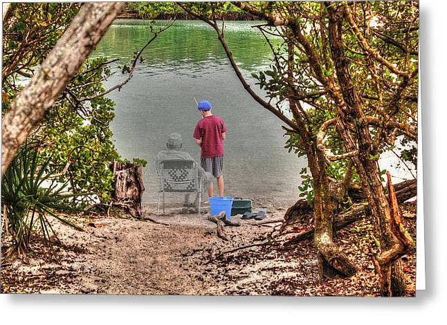 Grampa Greeting Cards - Memories of the Fishing Hole Greeting Card by Ric Potvin