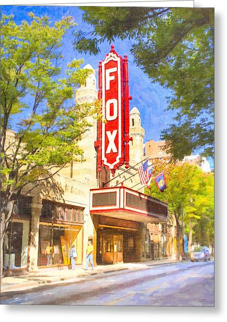 Golds Reds And Greens Greeting Cards - Memories of the Fox Theatre Greeting Card by Mark Tisdale