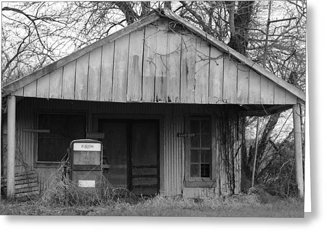 Screen Doors Greeting Cards - Memories Of The Old Exxon Station Greeting Card by KC Taffinder