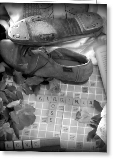Scrabble Greeting Cards - MEMORIES of VIRGINIA ROSE Greeting Card by Karen Wiles