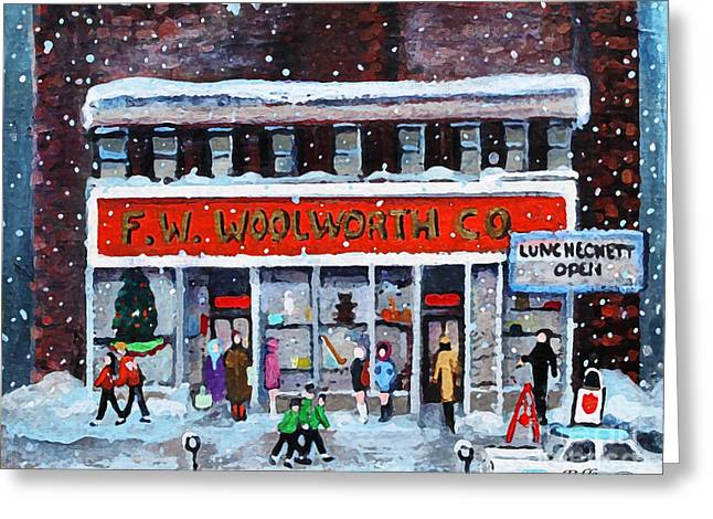 Memories Of Winter At Woolworth's Greeting Card by Rita Brown
