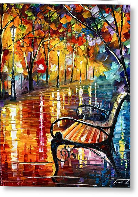 Park Benches Paintings Greeting Cards - Memories... small version Greeting Card by Leonid Afremov