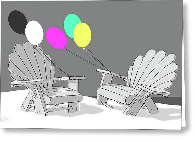 Chair Talk Greeting Card by Tom Dickson