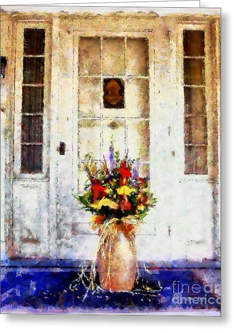 Vase Of Flowers Mixed Media Greeting Cards - Memory Lane Greeting Card by Janine Riley