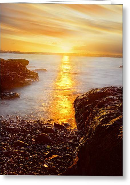 Browns And Golds Greeting Cards - Memory Of Sunset - Rhode Island Sunset Beavertail State Park At Dusk  Greeting Card by Lourry Legarde