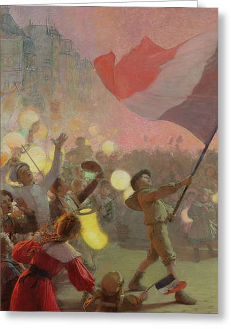 Tricolore Greeting Cards - Memory Of The National Festival, 1895 Oil On Canvas Greeting Card by Hippolyte Berteaux
