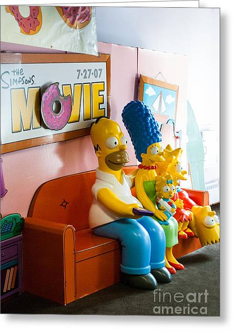 Bart Simpson Greeting Cards - Memory to Bart Simpson and Family Springfield Vermont Greeting Card by Robert Ford