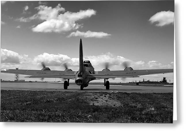 Belles Greeting Cards - Memphis Belle BW Greeting Card by Peter Chilelli