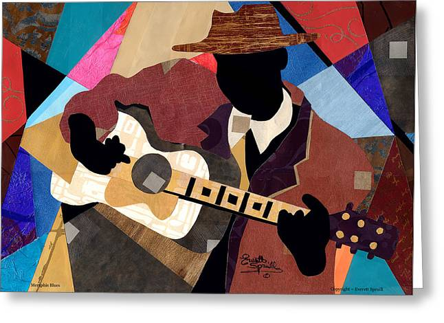 Best Sellers -  - Lino Greeting Cards - Memphis Blues 2012 Greeting Card by Everett Spruill