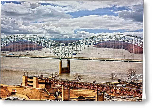 Tn Greeting Cards - Memphis Bridge HDR Greeting Card by Suzanne Barber