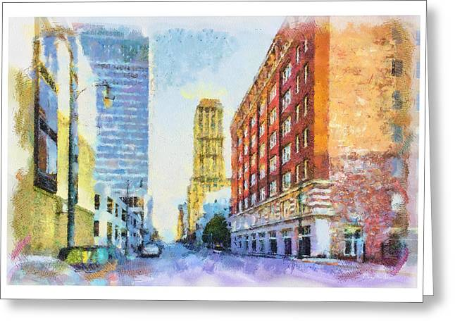 Memphis Grizzlies Digital Greeting Cards - Memphis City Street Greeting Card by Barry Jones