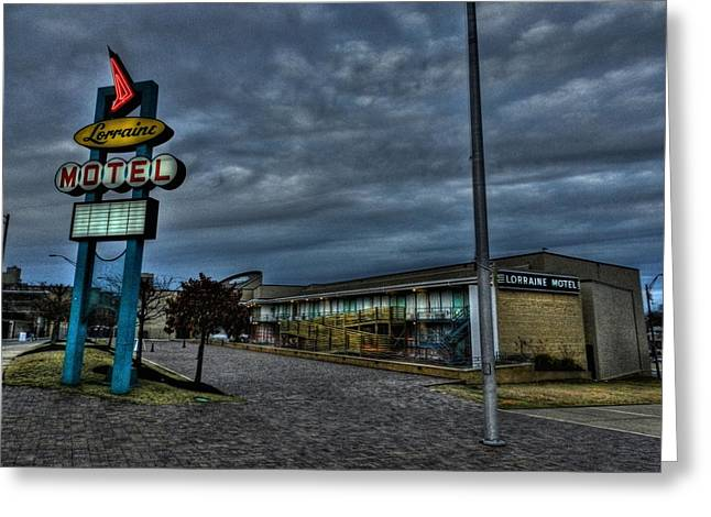 Reverend Greeting Cards - Memphis - Dark Clouds Over the Lorraine Motel Greeting Card by Lance Vaughn