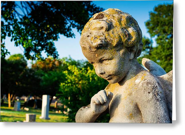 Gravesite Greeting Cards - Memphis Elmwood Cemetery - Boy Angel Greeting Card by Jon Woodhams