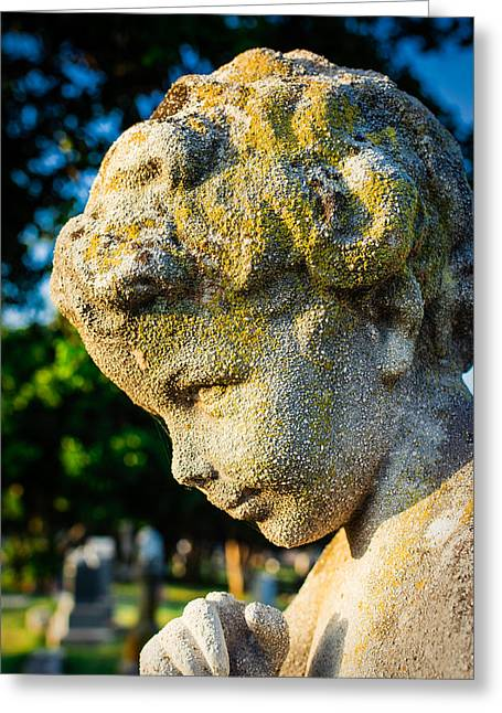 Memphis Elmwood Cemetery - Boy Angel Vertical Greeting Card by Jon Woodhams