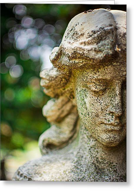 Tennessee Historic Site Photographs Greeting Cards - Memphis Elmwood Cemetery - Girl with Cross Close-up Greeting Card by Jon Woodhams