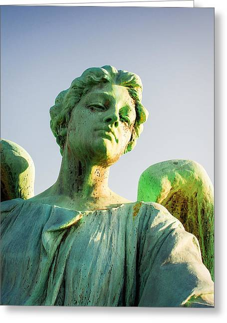 Memphis Elmwood Cemetery - Patinated Angel Greeting Card by Jon Woodhams