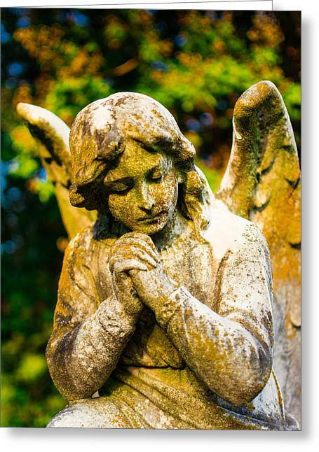 Gravesite Greeting Cards - Memphis Elmwood Cemetery - Praying Angel Greeting Card by Jon Woodhams