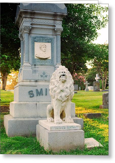 Memphis Elmwood Cemetery - Guarding Jasper Greeting Card by Jon Woodhams