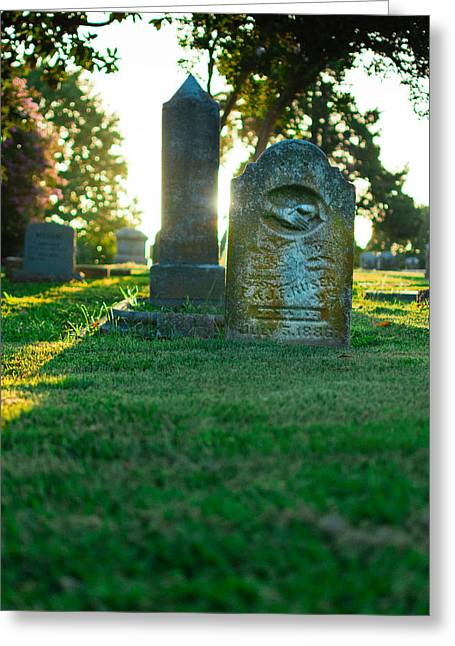 Gravesite Greeting Cards - Memphis Elmwood Cemetery - Backlit Grave Stones Greeting Card by Jon Woodhams