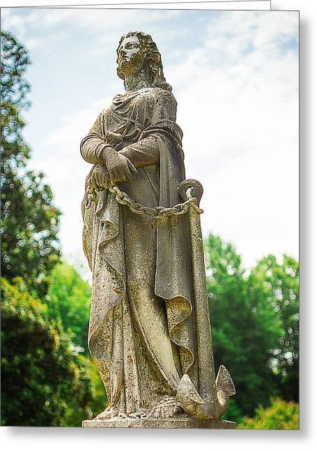 Gravesite Greeting Cards - Memphis Elmwood Cemetery Monument - Woman with Chain Greeting Card by Jon Woodhams