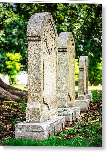 Memphis Elmwood Cemetery Monument - Four In A Row Greeting Card by Jon Woodhams