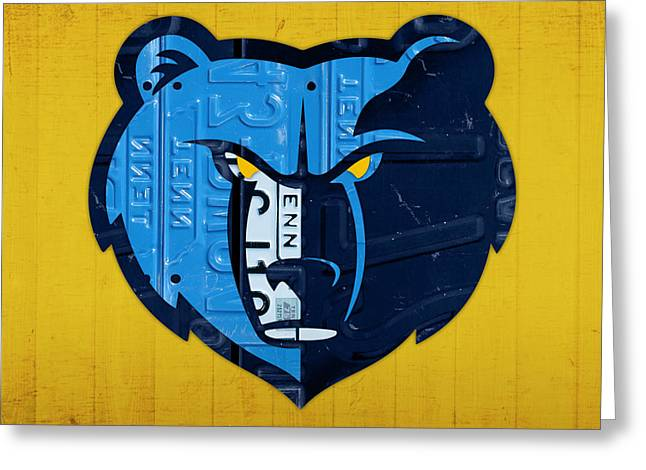 Basketball Team Greeting Cards - Memphis Grizzlies Basketball Team Retro Logo Vintage Recycled Tennessee License Plate Art Greeting Card by Design Turnpike