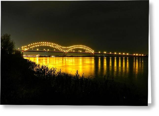 Memphis Tn Greeting Cards - Memphis - Hernando de Soto Bridge 001 Greeting Card by Lance Vaughn