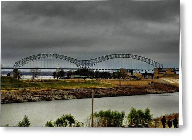 Memphis Tn Greeting Cards - Memphis - Hernando de Soto Bridge 004 Greeting Card by Lance Vaughn