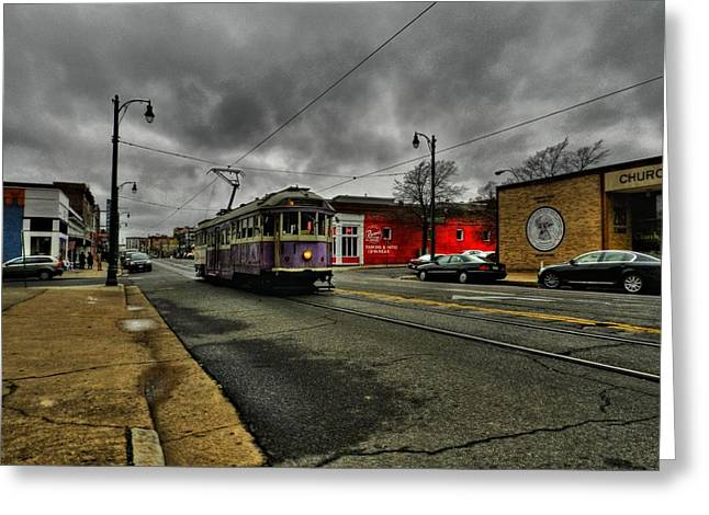 Main Street Greeting Cards - Memphis - Main Street Trolley 001 Greeting Card by Lance Vaughn