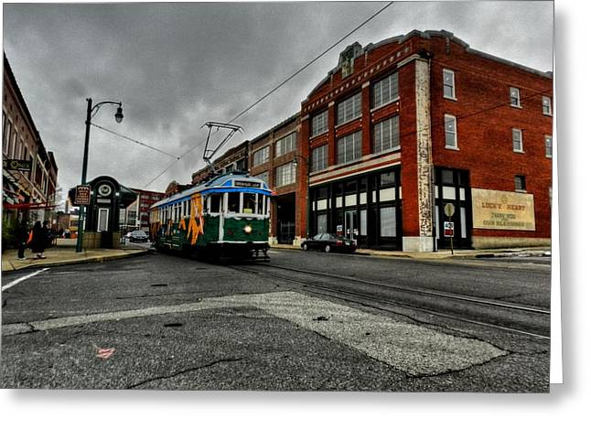 Trolley Car Greeting Cards - Memphis - Main Street Trolley 005 Greeting Card by Lance Vaughn
