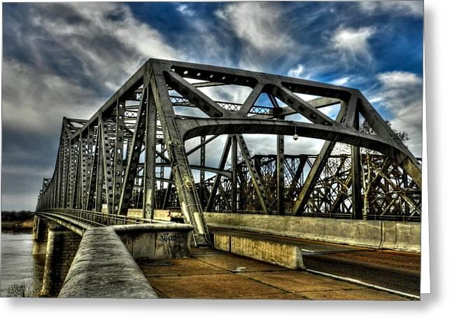 Memphis Tn Greeting Cards - Memphis - Memphis and Arkansas Bridge 002 Greeting Card by Lance Vaughn