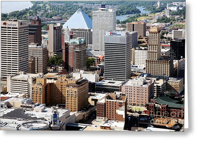 Leasing Greeting Cards - Memphis Skyline Aerial Greeting Card by Bill Cobb
