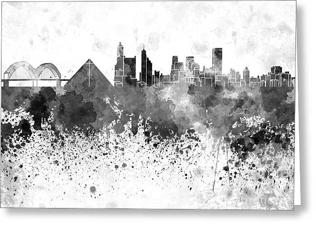 Tennessee Landmark Paintings Greeting Cards - Memphis skyline in black watercolor on white background Greeting Card by Pablo Romero