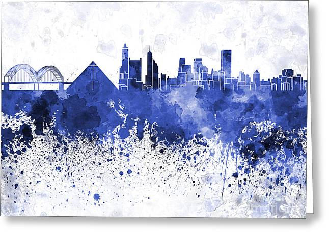 Tennessee Landmark Paintings Greeting Cards - Memphis skyline in blue watercolor on white background Greeting Card by Pablo Romero