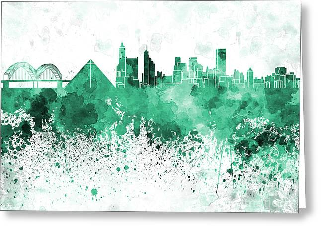 Tennessee Landmark Paintings Greeting Cards - Memphis skyline in green  watercolor on white background Greeting Card by Pablo Romero