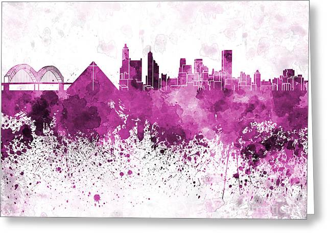 Tennessee Landmark Paintings Greeting Cards - Memphis skyline in pink watercolor on white background Greeting Card by Pablo Romero