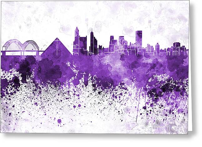 Tennessee Landmark Paintings Greeting Cards - Memphis skyline in purple watercolor on white background Greeting Card by Pablo Romero