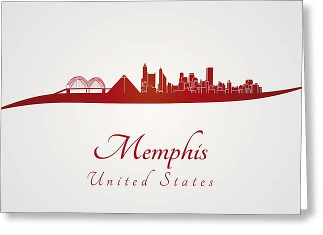 Tennessee Landmark Digital Greeting Cards - Memphis skyline in red Greeting Card by Pablo Romero