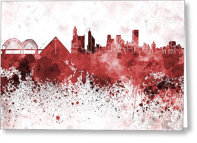 Tennessee Landmark Paintings Greeting Cards - Memphis skyline in red watercolor on white background Greeting Card by Pablo Romero