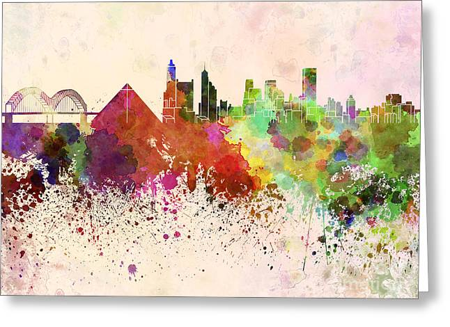 Best Sellers -  - Tennessee Landmark Greeting Cards - Memphis skyline in watercolor background Greeting Card by Pablo Romero
