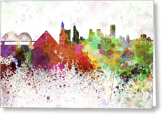 Tennessee Landmark Paintings Greeting Cards - Memphis skyline in watercolor on white background Greeting Card by Pablo Romero