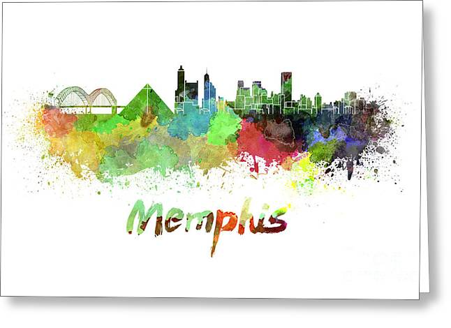 Tennessee Landmark Paintings Greeting Cards - Memphis skyline in watercolor Greeting Card by Pablo Romero