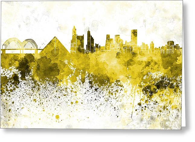 Tennessee Landmark Paintings Greeting Cards - Memphis skyline in yellow watercolor on white background Greeting Card by Pablo Romero