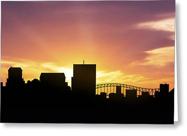 Down Town Greeting Cards - Memphis Skyline Panorama Sunset Greeting Card by Aged Pixel