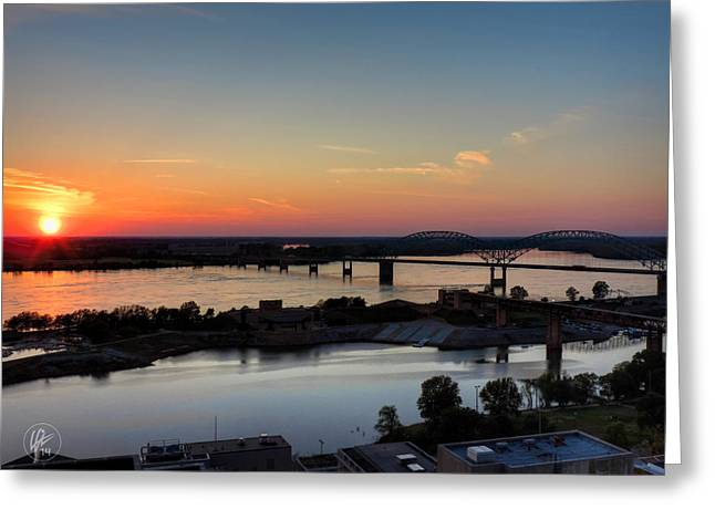 Arkansas Greeting Cards - Memphis Sunset on the Mississippi 001 Greeting Card by Lance Vaughn